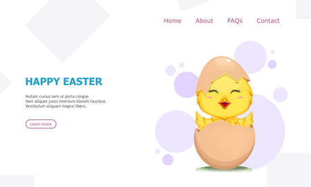 Cute little chick hatched from an egg. Happy Easter greeting. Funny baby chicken in shell. Stock vector illustration usable for landing page, website etc.