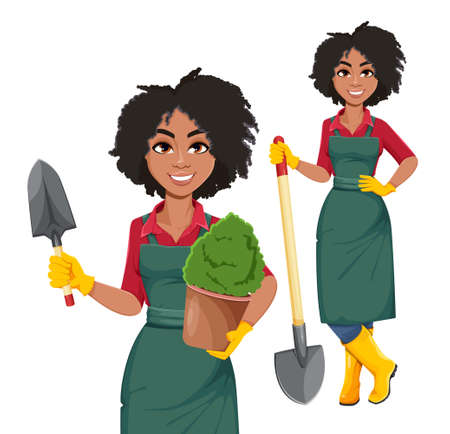 Stock vector young African American gardener woman, set of two poses. Beautiful lady farmer cartoon character on white background
