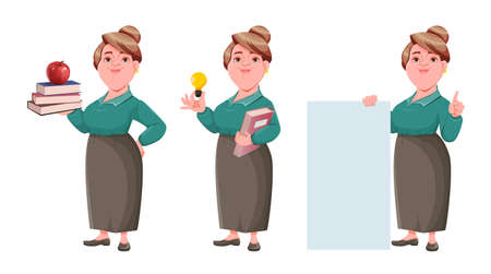 Stock vector happy smiling middle aged woman teacher, set of three poses. Smiling lady teacher cartoon character with books, having a good idea and standing near blank placard