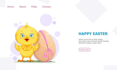 Cute little chick standing near decorated egg. Happy Easter greeting. Funny baby chicken. Stock vector illustration usable for landing page, website etc.