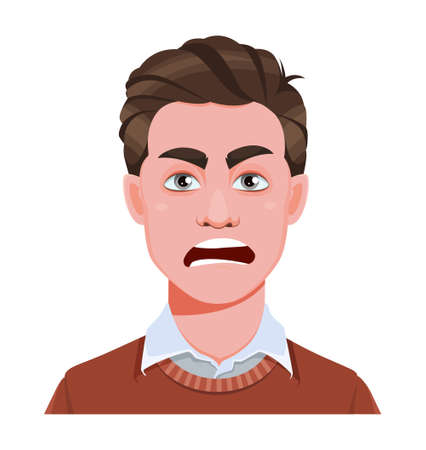 Face expression of handsome business man, angry. Male emotion. Avatar. Cartoon character. Stock vector illustration isolated on white background. Vecteurs