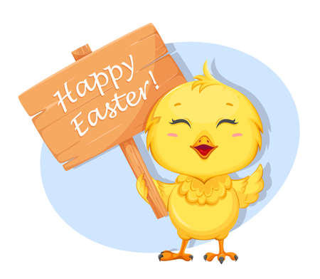 Cute little chick holding placard with greetings. Happy Easter. Funny baby chicken. Stock vector illustration 일러스트