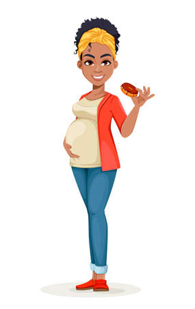 Beautiful African American pregnant woman holding tasty doughnut. Happy young mother cartoon character. Stock vector illustration