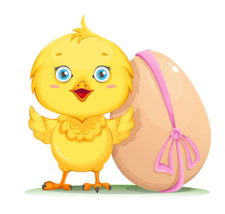 Cute little chick standing near decorated egg. Happy Easter. Funny baby chicken. Stock vector illustration
