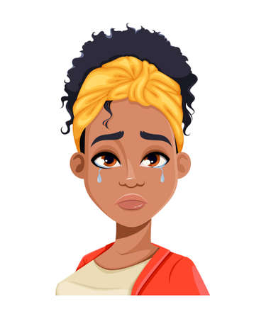 Face expression of young African American woman, crying. Different female emotions set. Beautiful cartoon character in flat style. Stock vector illustration 일러스트