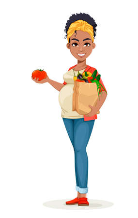 Beautiful African American pregnant woman holding paper bag with fresh vegetables. Happy young mother cartoon character. Stock vector illustration