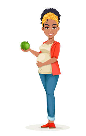 Beautiful African American pregnant woman holding fresh green apple. Happy young mother cartoon character. Stock vector illustration 일러스트