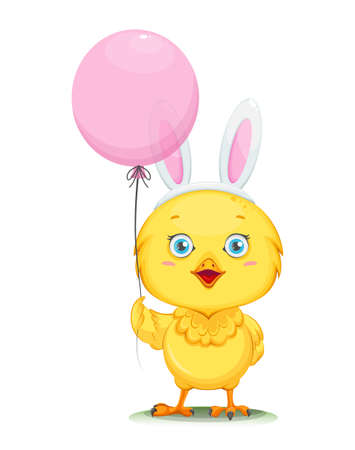 Cute little chick wearing rabbit ears mask and holding balloon. Happy Easter. Funny baby chicken. Stock vector illustration on white background