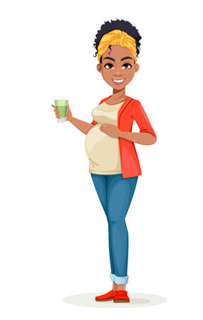 Beautiful African American pregnant woman holding smoothie. Happy young mother cartoon character. Stock vector illustration 일러스트