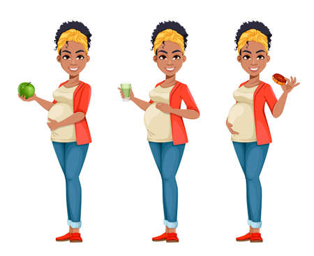 Beautiful African American pregnant woman, set of three poses. Happy young mother cartoon character. Stock vector illustration