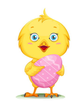 Cute little chick holding colored egg. Happy Easter. Funny baby chicken. Stock vector illustration
