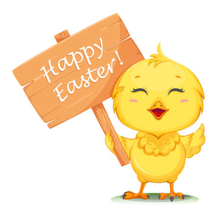 Cute little chick holding placard with greetings. Happy Easter. Funny baby chicken. Stock vector illustration on white background