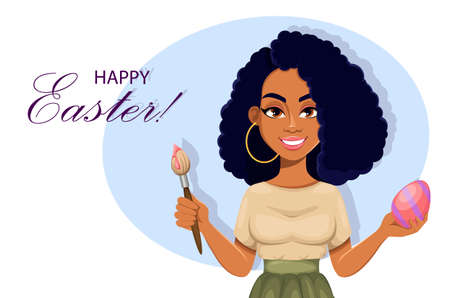 Happy Easter greeting card with beautiful African American woman painting Easter egg. Cheerful lady cartoon character. Stock vector illustration