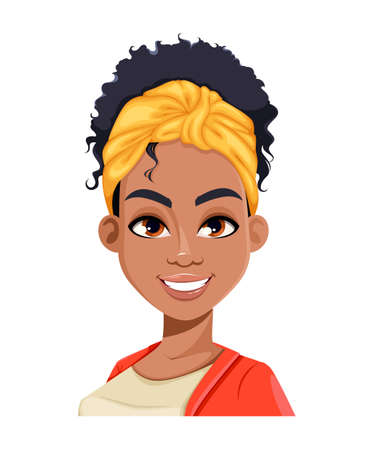 Face expression of young African American woman, cheerful. Different female emotions set. Beautiful cartoon character in flat style. Stock vector illustration