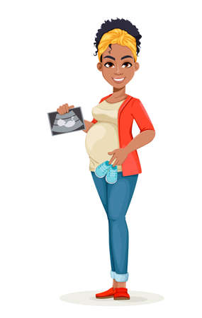Beautiful African American pregnant woman holding ultrasound scan of her baby. Happy young mother cartoon character. Stock vector illustration 일러스트