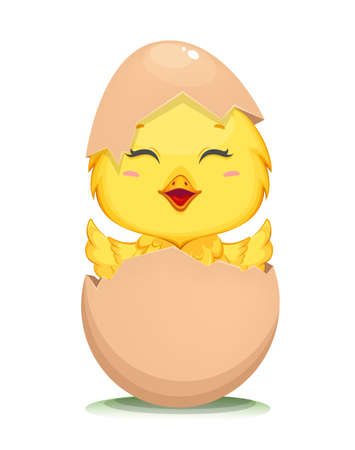 Cute little chick hatched from an egg. Happy Easter. Funny baby chicken in shell. Stock vector illustration on white background 일러스트