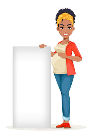 Beautiful African American pregnant woman standing near blank banner. Happy young mother cartoon character. Stock vector illustration