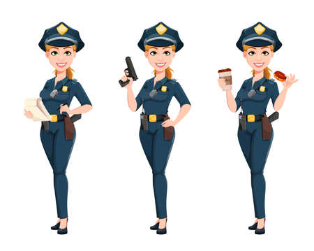 Police woman in uniform, set of three poses. Female police officer cartoon character. Stock vector illustration