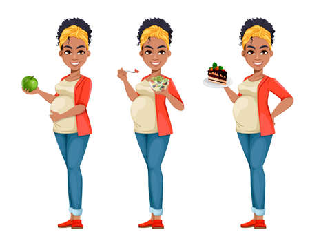 Beautiful African American pregnant woman, set of three poses. Happy young mother cartoon character. Stock vector illustration on white background