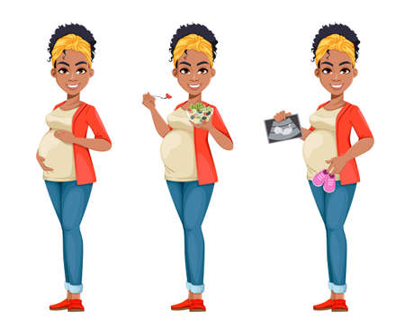Beautiful African American pregnant woman, set of three poses. Happy young lady preparing to be a mother. Cheerful cartoon character. Stock vector illustration