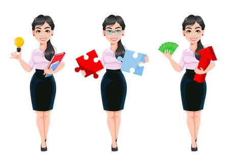 Beautiful successful business woman. Lady businesswoman cartoon character, set of three poses. Usable as manager, secretary, office worker. Stock vector illustration Illusztráció