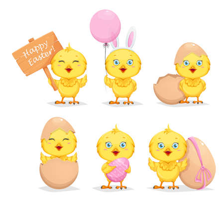 Cute little chick, set of six poses. Happy Easter. Funny baby chicken cartoon character. Stock vector illustration Illusztráció