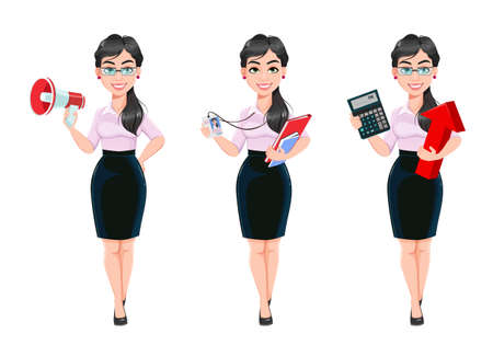 Beautiful successful business woman cartoon character, set of three poses. Usable as manager, secretary, office worker. Stock vector illustration Illusztráció