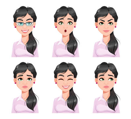 Face expressions of pretty woman. Different female emotions set. Beautiful cartoon character. Vector illustration isolated on white background. Illusztráció