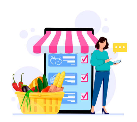 Ordering products online. Concept of online store. Stock vector illustration