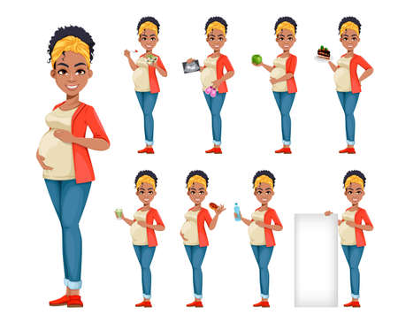 Beautiful African American pregnant woman, set of nine poses. Happy young mother cartoon character. Stock vector illustration on white background