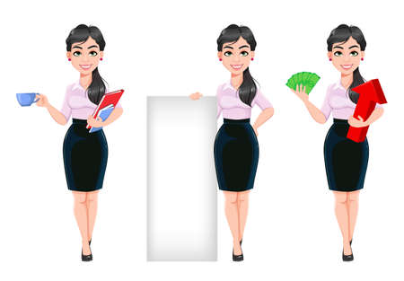 Beautiful successful business woman, set of three poses. Lady businesswoman cartoon character having a coffee break, standing near blank banner and holding money. Stock vector illustration Illusztráció