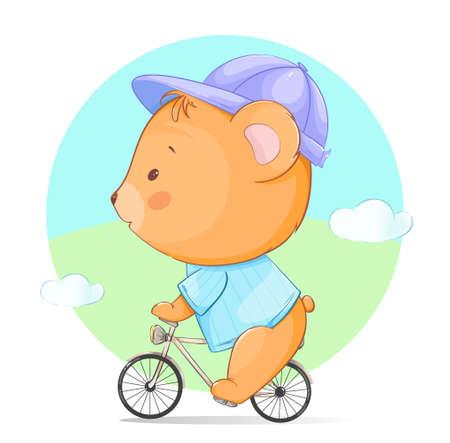 Cute little bear riding a bicycle. Funny cartoon character bear. Stock vector illustration