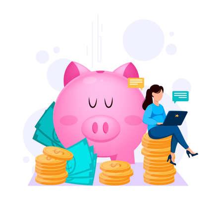 Banking, online payments. Financial concept. Woman working on laptop near big piggy bank. Flat style. Vector illustration on white background Illusztráció
