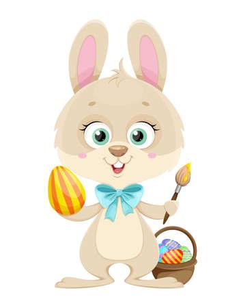 Happy Easter. Cute little bunny painting eggs. Cartoon character rabbit. Stock vector illustration.