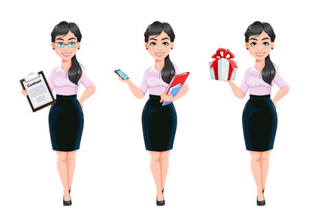 Beautiful successful business woman cartoon character, set of three poses. Usable as manager, secretary, office worker. Stock vector illustration on white background