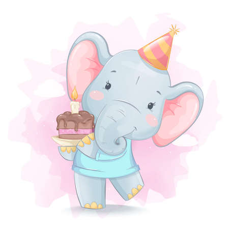 Cute little elephant holding cake with candle. Funny cartoon character elephant celebrating birthday party. Stock vector illustration