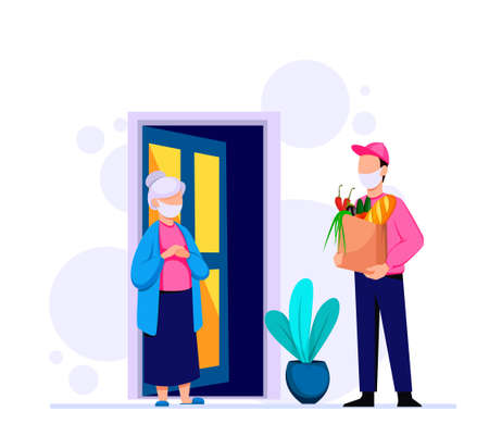 Delivery of groceries by courier, assistance to pensioners with self-isolation due to pandemic. Stock vector illustration,