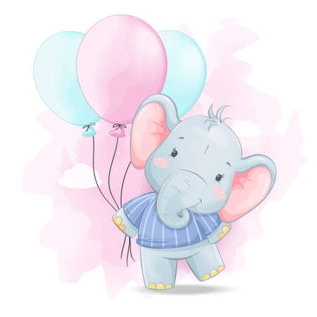Cute little elephant with colorful balloons. Funny cartoon character. Stock vector illustration
