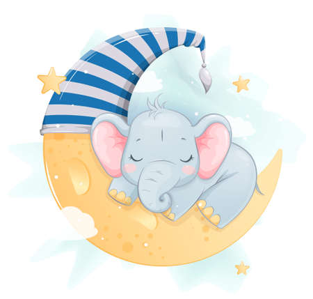 Cute little elephant sleeping on the moon. Funny cartoon character. Stock vector illustration