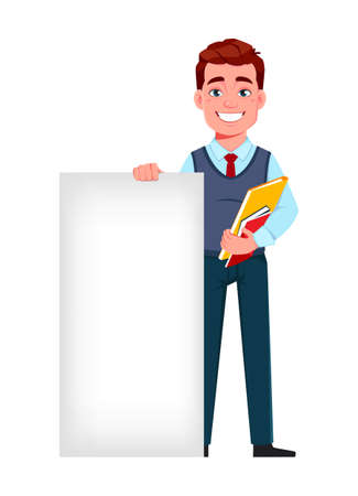 Handsome business man standing near banner. Young businessman cartoon character in flat style. Stock vector illustration Illusztráció