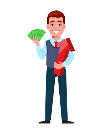 Handsome business man making money. Young businessman cartoon character in flat style. Stock vector illustration