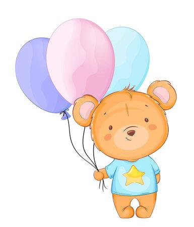 Cute little bear holding colored balloons. Funny cartoon character bear. Stock vector illustration