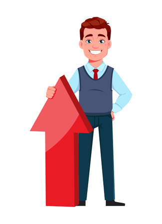 Handsome business man standing near red arrow. Young businessman cartoon character in flat style. Stock vector illustration Illusztráció