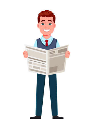 Handsome business man reading newspaper. Young businessman cartoon character in flat style. Stock vector illustration Illustration