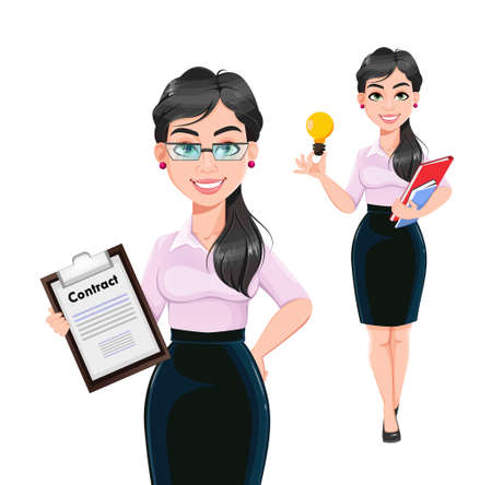 Beautiful successful business woman cartoon character, set of two poses. Usable as manager, secretary, office worker. Stock vector illustration Illustration