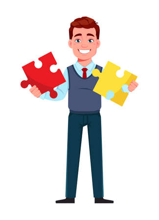 Handsome business man solving problem. Young businessman cartoon character in flat style. Stock vector illustration