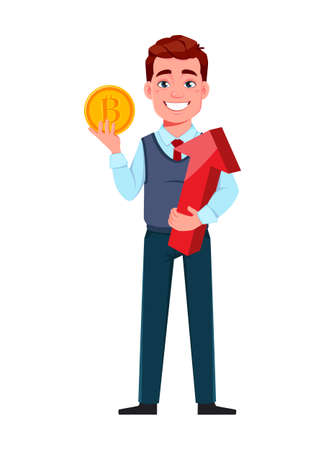 Handsome business man mining cryptocurrency. Young businessman cartoon character in flat style. Stock vector illustration Illustration