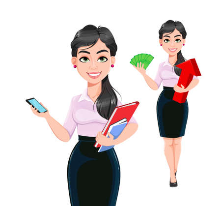 Beautiful successful business woman cartoon character, set of two poses. Usable as manager, secretary, office worker. Stock vector illustration on white background