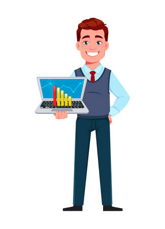Handsome business man working on laptop. Young businessman cartoon character in flat style. Stock vector illustration