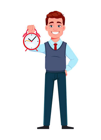 Handsome business man holding alarm clock. Young businessman cartoon character in flat style. Stock vector illustration